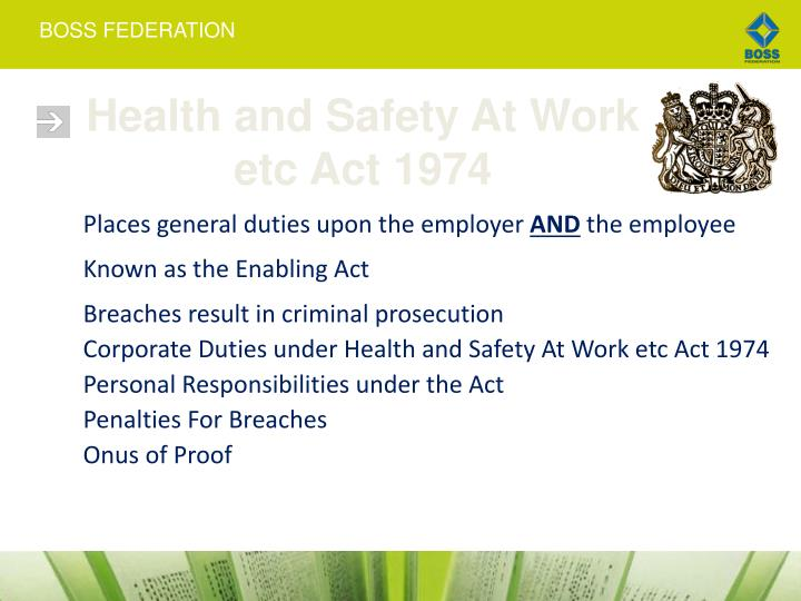 Health and Safety At Work etc Act 1974