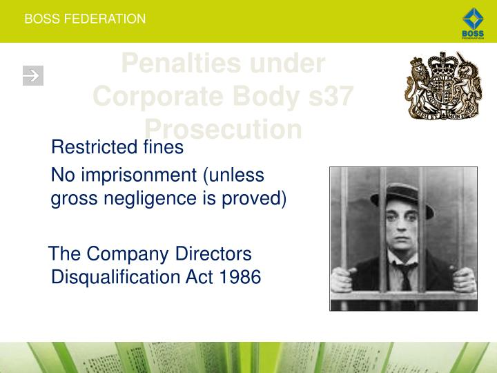 Penalties under Corporate Body s37 Prosecution
