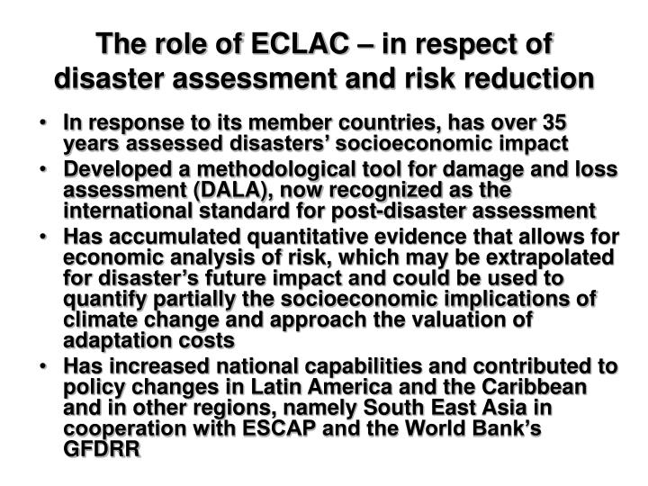 The role of ECLAC – in respect of disaster assessment and risk reduction