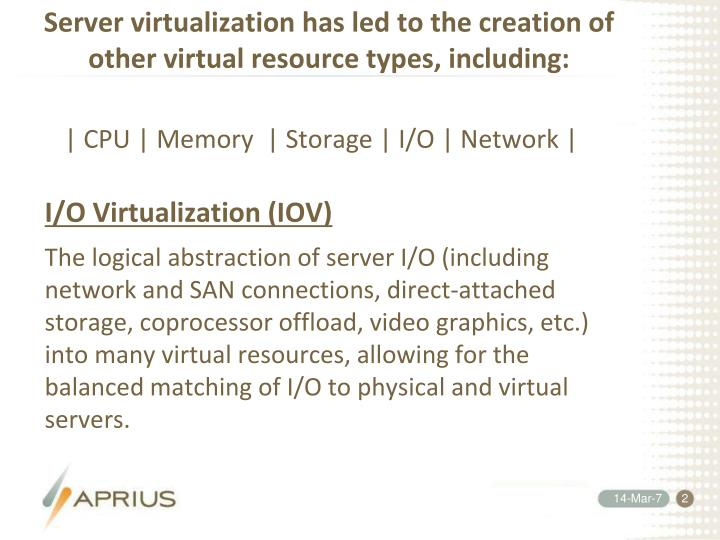 Server virtualization has led to the creation of other virtual resource types, including: