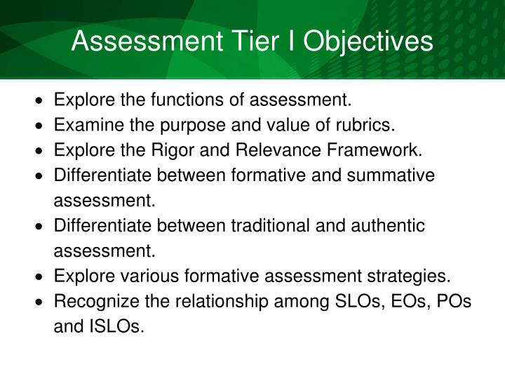 Assessment Tier I Objectives