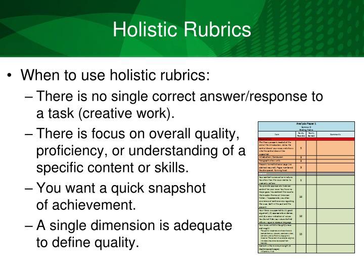 Holistic Rubrics