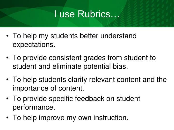 I use Rubrics…