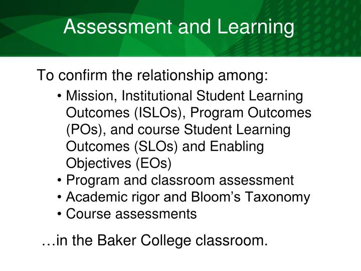 Assessment and Learning