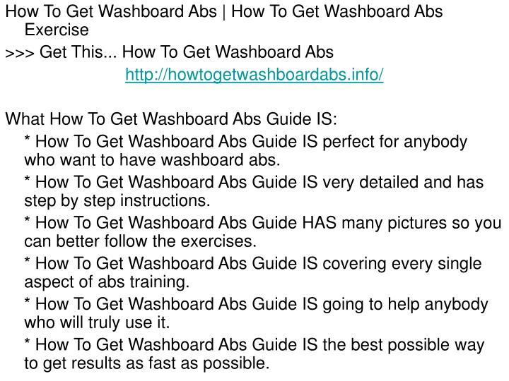 How To Get Washboard Abs | How To Get Washboard Abs Exercise