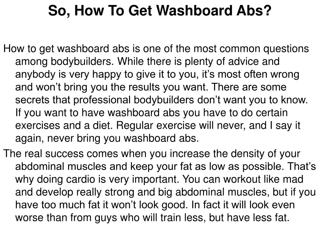 So, How To Get Washboard Abs?