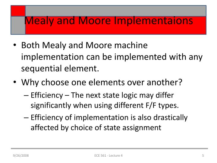 Mealy and Moore Implementaions