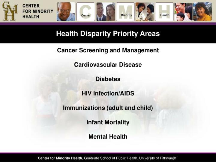 Health Disparity Priority Areas
