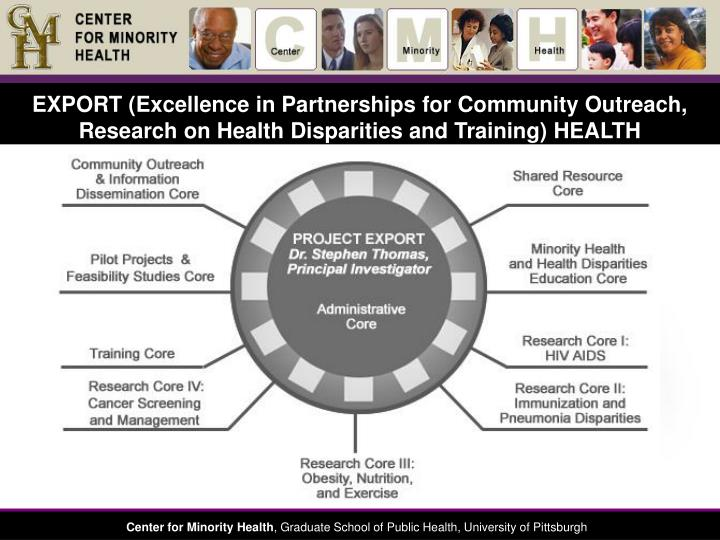 EXPORT (Excellence in Partnerships for Community Outreach, Research on Health Disparities and Training) HEALTH