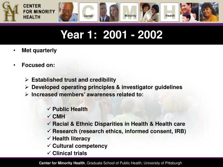 Year 1:  2001 - 2002