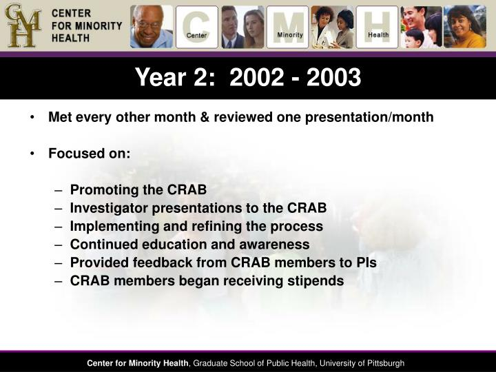 Year 2:  2002 - 2003