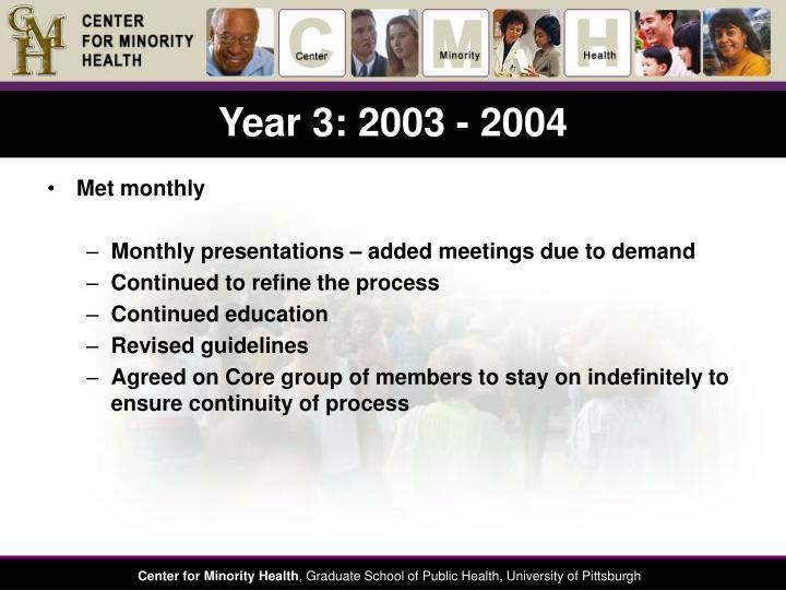 Year 3: 2003 - 2004
