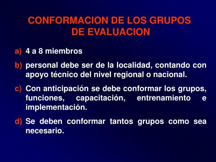 CONFORMACION DE LOS GRUPOS