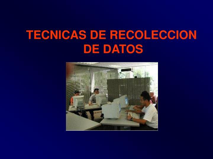 TECNICAS DE RECOLECCION