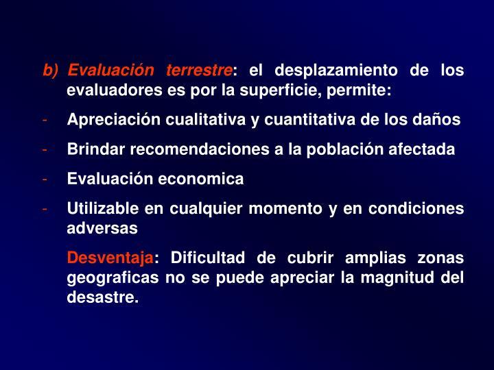 Evaluación terrestre