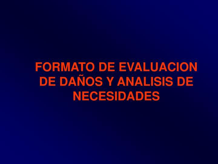 FORMATO DE EVALUACION DE DAÑOS Y ANALISIS DE NECESIDADES
