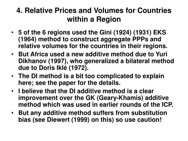 4. Relative Prices and Volumes for Countries within a Region