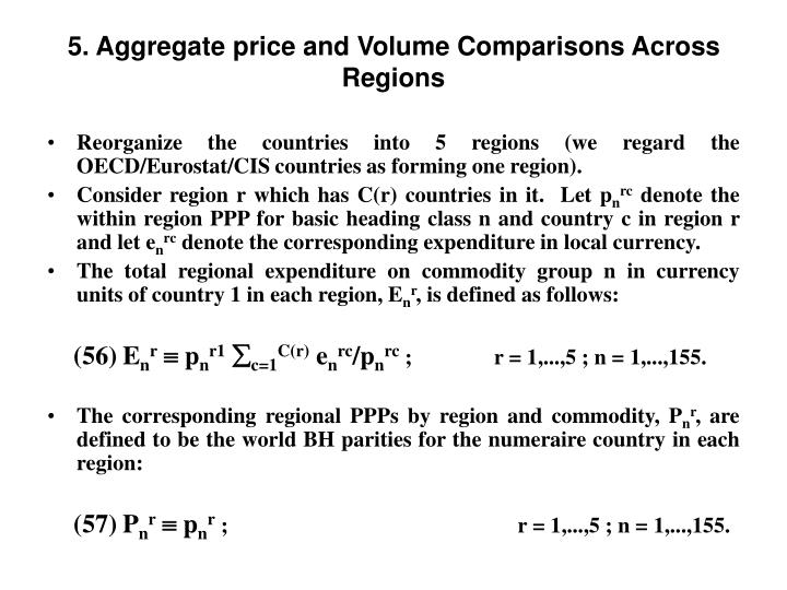 5. Aggregate price and Volume Comparisons Across Regions