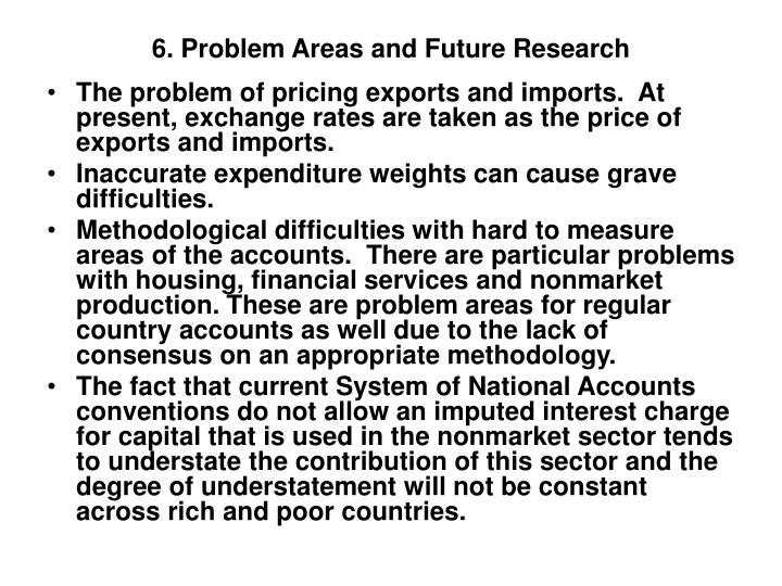 6. Problem Areas and Future Research