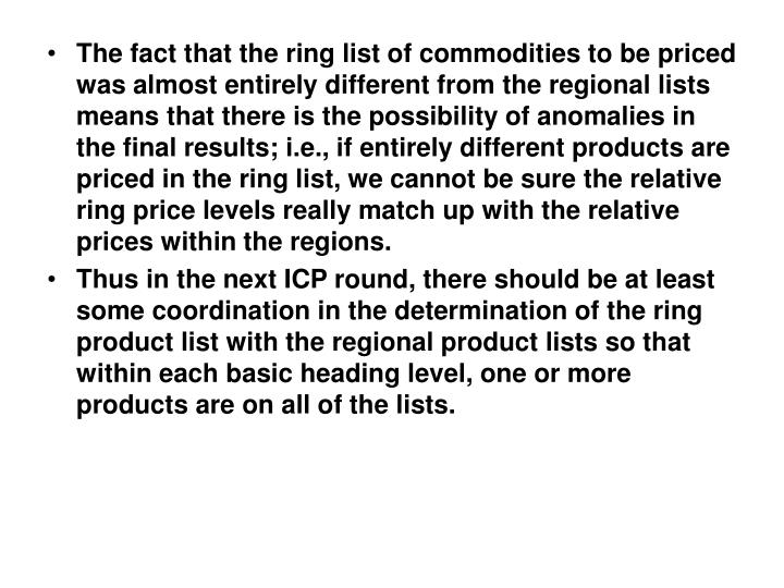 The fact that the ring list of commodities to be priced was almost entirely different from the regional lists means that there is the possibility of anomalies in the final results; i.e., if entirely different products are priced in the ring list, we cannot be sure the relative ring price levels really match up with the relative prices within the regions.