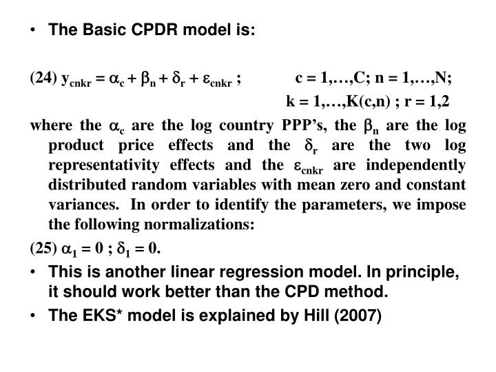 The Basic CPDR model is: