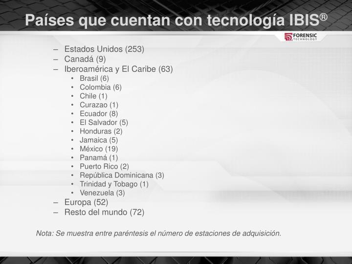 Países que cuentan con tecnología IBIS