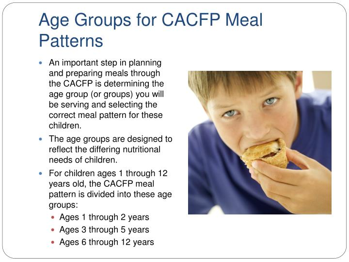 Age groups for cacfp meal patterns