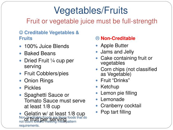 Vegetables/Fruits