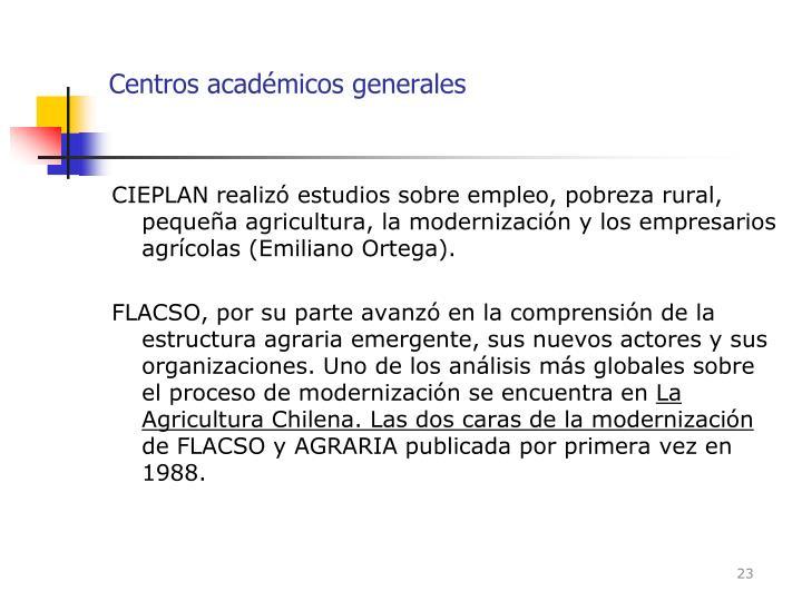 Centros académicos generales