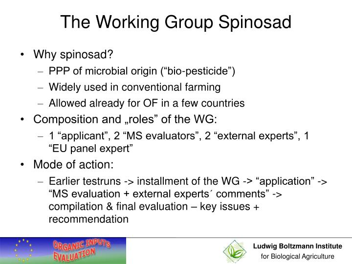 The Working Group Spinosad