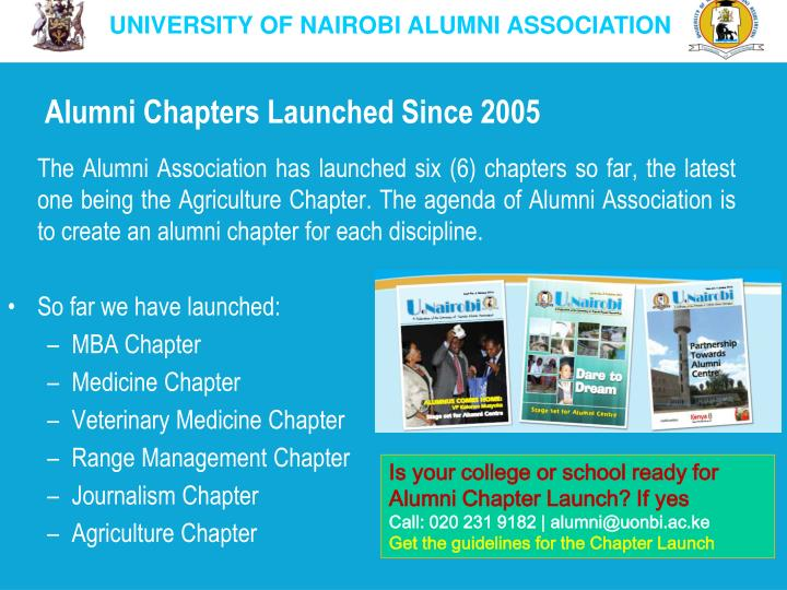 Alumni Chapters Launched Since 2005