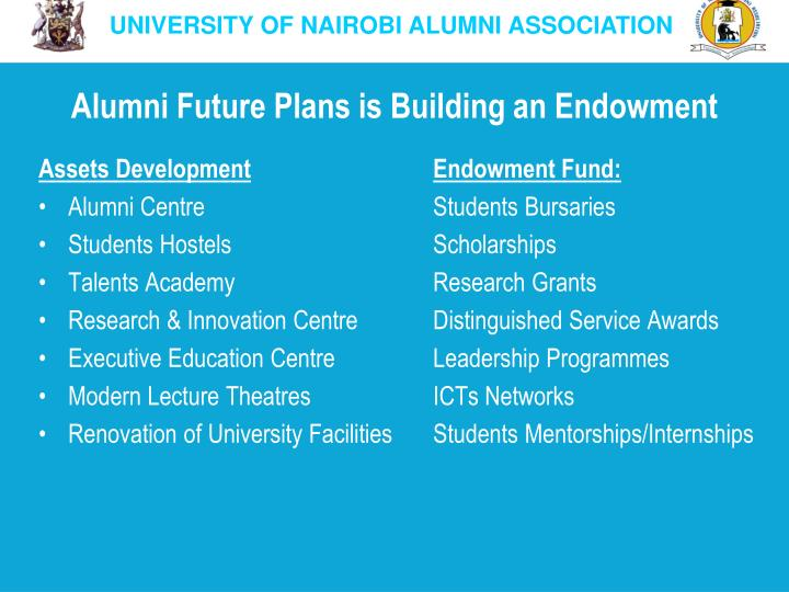 Alumni Future Plans is Building an Endowment