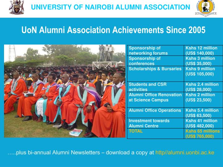 Uon alumni association achievements since 2005