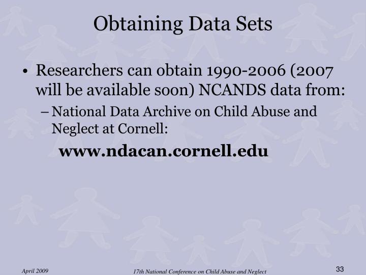 Obtaining Data Sets