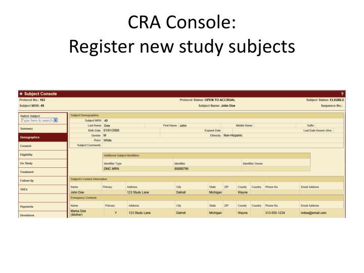 CRA Console: