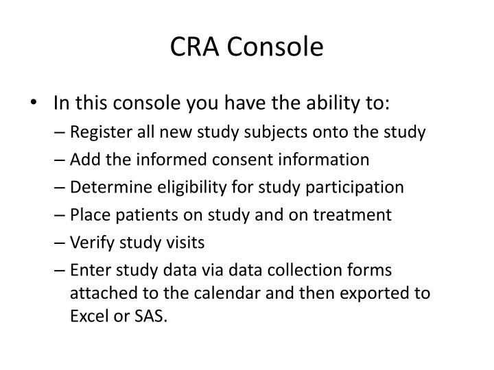 CRA Console