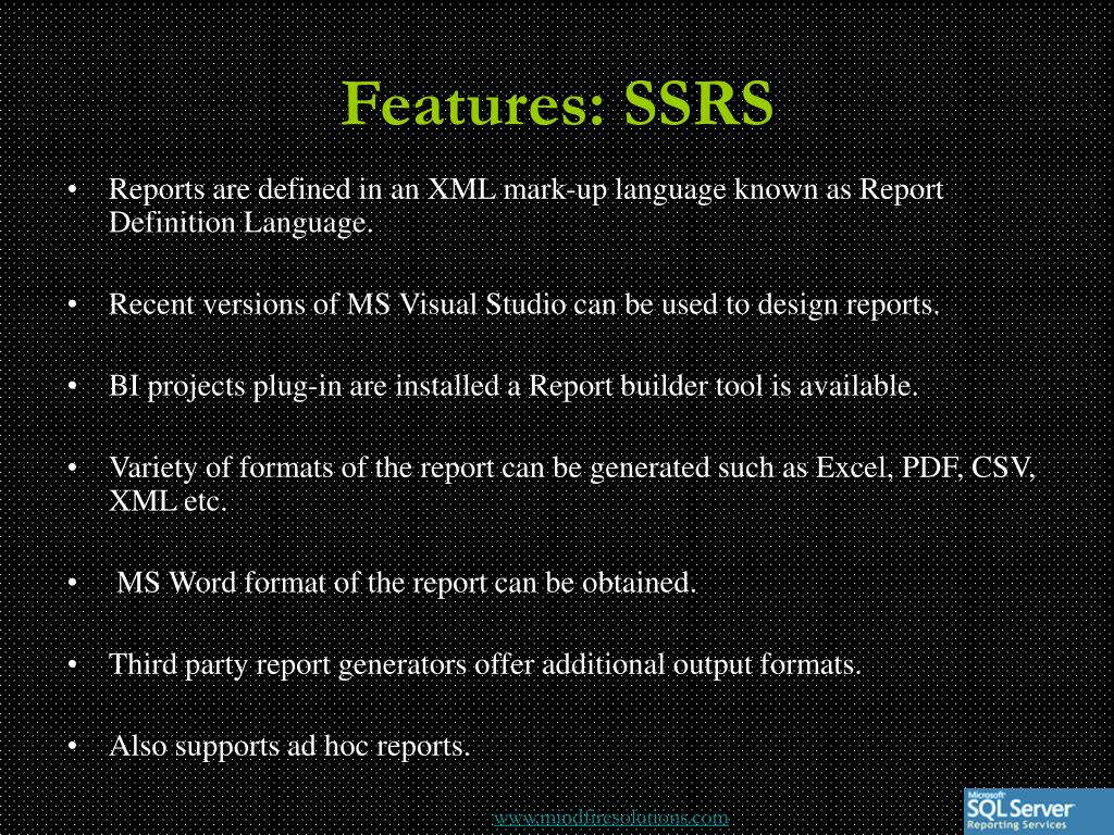 Features: SSRS