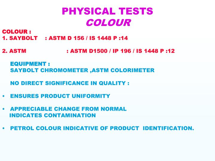 PHYSICAL TESTS