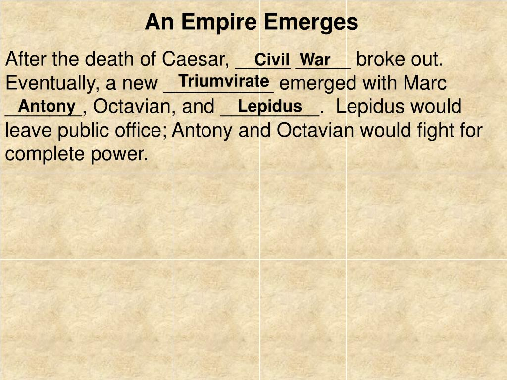After the death of Caesar, _____ _____ broke out.  Eventually, a new __________ emerged with Marc _______, Octavian, and _________.  Lepidus would leave public office; Antony and Octavian would fight for complete power.