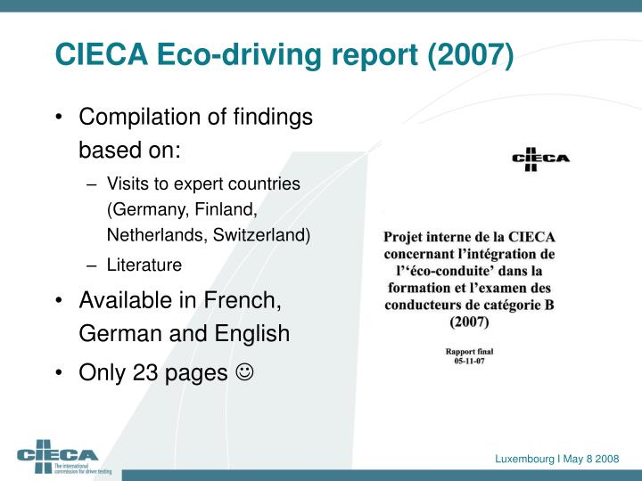 CIECA Eco-driving report (2007)