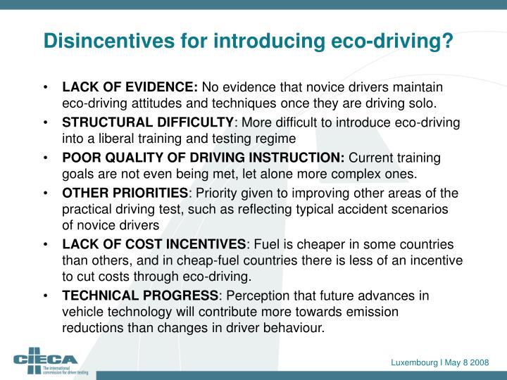 Disincentives for introducing eco-driving?