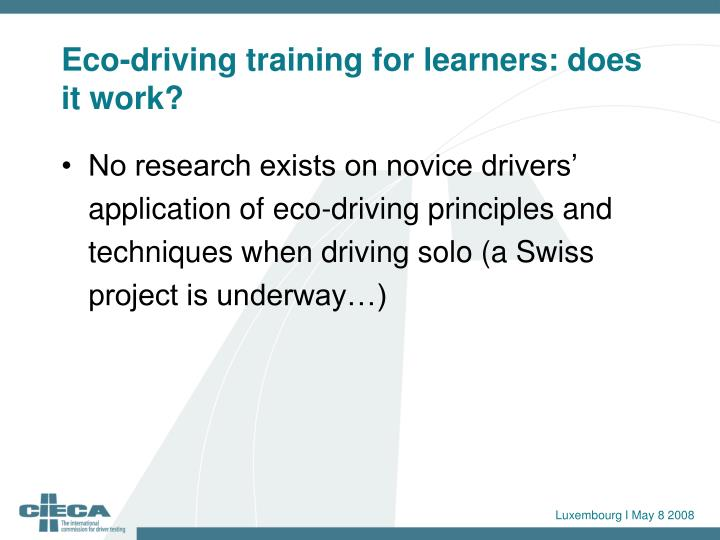 Eco-driving training for learners: does it work?