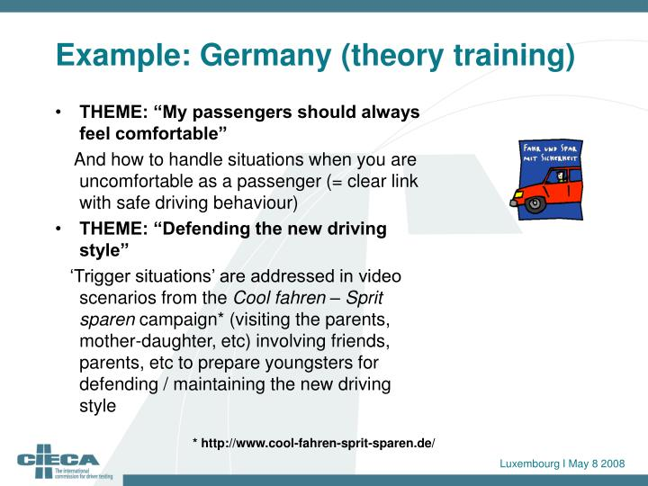 Example: Germany (theory training)