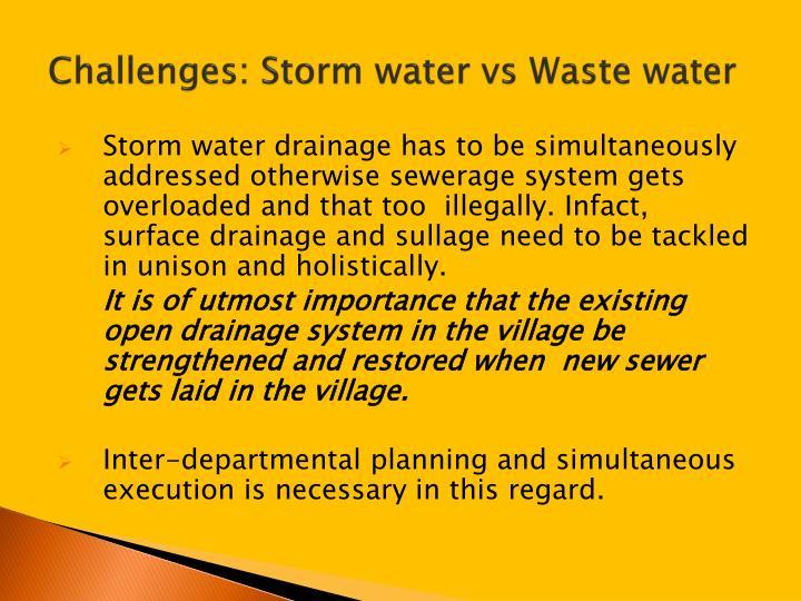Challenges: Storm water