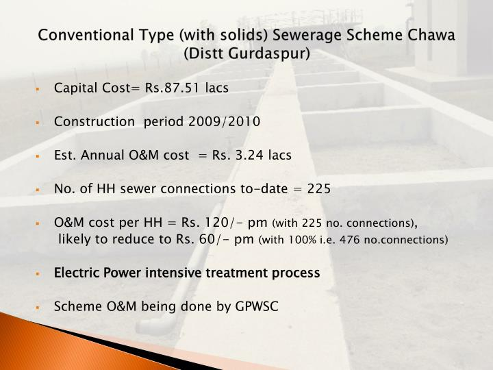 Conventional Type (with solids) Sewerage Scheme