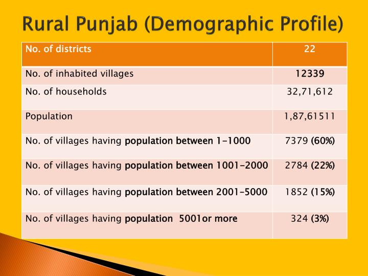 Rural punjab demographic profile