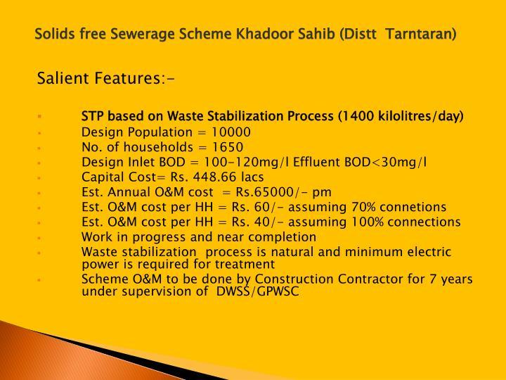 Solids free Sewerage Scheme