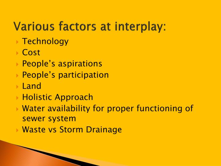 Various factors at interplay: