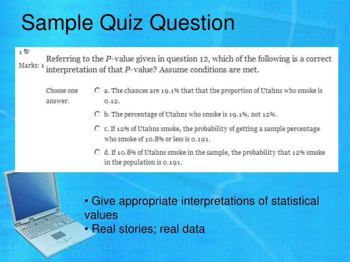 Sample Quiz Question
