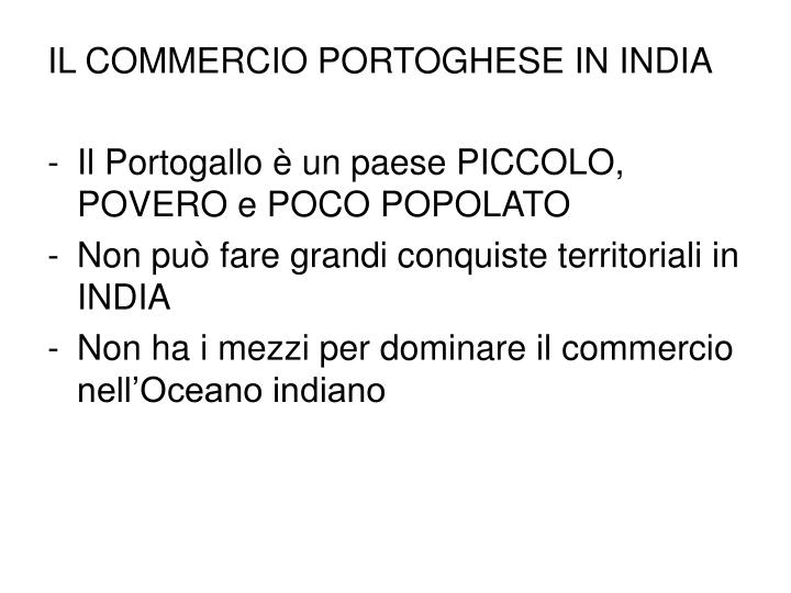 IL COMMERCIO PORTOGHESE IN INDIA